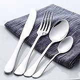 Set 24 Piezas Cubiertos Juego de Cuchillo y Tenedor para Cubiertos Occidentales de Acero Inoxidable-Plata Adecuado para Hotel/Fiesta De Bodas/Restaurante
