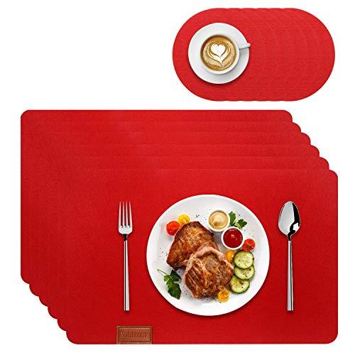 Tischset abwaschbar aus Filz 12er Set in Rot-6 Tischuntersetzer Platzset(44x30cm)+6 Glas Untersetzer-Hergestellt aus Filz-Platzdeckchen abwischbar