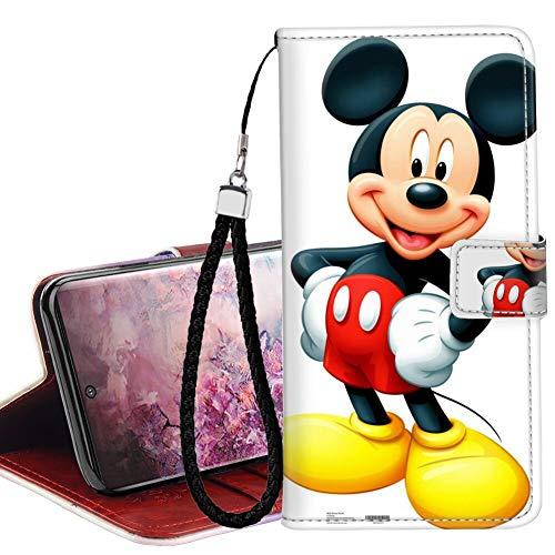 DISNEY COLLECTION Funda tipo cartera para Samsung Galaxy Note 10+ 5G, de piel sintética, diseño de Mickey Mouse, con correa de mano, soporte magnético para tarjetas de crédito, para mujeres y niñas
