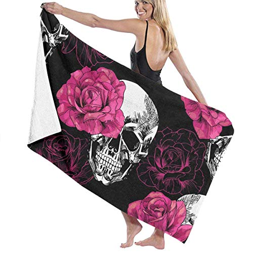 Ewtretr Toalla de Playa Skulls-Flowers Super Absorbent Bath Towel Hand Towels for Bathroom Hotel Home Ideas Decoration