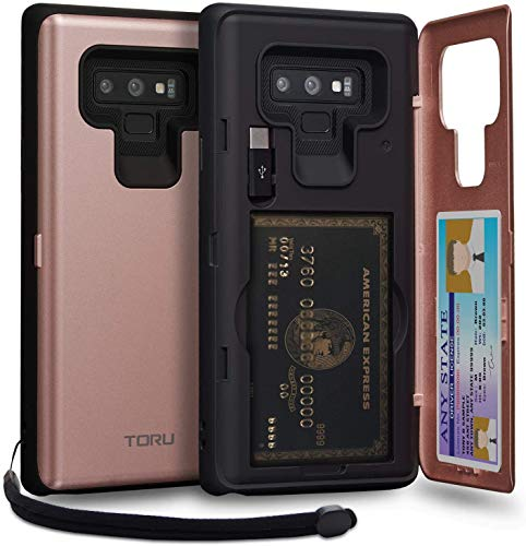 TORU CX PRO Note 9 Wallet Case Pink with Hidden Credit Card Holder ID Slot Hard Cover, Strap, Mirror & USB Adapter for Samsung Galaxy Note 9 (2018) - Rose Gold