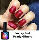 Joligel Esmalte Semipermanente para Uñas Gel UV LED Shellac Manicura Pedicura Permanente Soak Off, Rojo Luxury, con Brillos Superfinos
