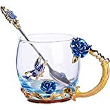 TKLake Lead-Free Enamel Flower Glass Mug/Coffee Mug/Tea Cup with Steel Spoon,Great Gifts for Women Wife Mum Teacher Girlfriend Friends Birthday Mothers Valentines Wedding Day (Blue Rose)