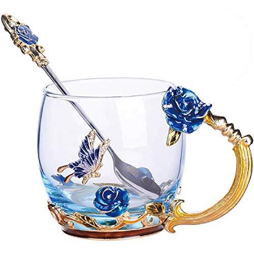 TKLake Lead-Free Enamel Flower Glass Mug/Coffee Mug/Tea Cup with Steel Spoon,Great Gifts for Women Wife Mum Teacher Girlfriend Friends Birthday Mothers Valentines Wedding Day (Blue Rose)