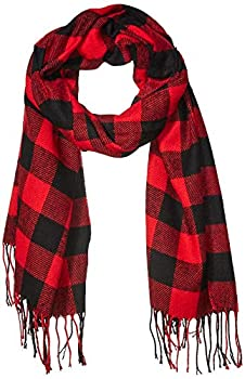 Amazon Essentials Women s Blanket Scarf Red Buffalo Plaid One Size