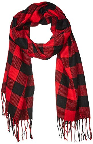 Amazon Essentials Blanket Scarf Cold-Weather-Scarves, Red Buffalo Plaid, One Size