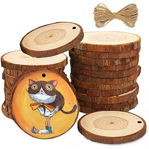 Asubaby Natural Wood Slices 30 Pcs 2.4-2.8 Inches Craft Wood kit Unfinished Predrilled with Hole Wooden Circles Great for Arts and Crafts Christmas Ornaments DIY Crafts (30)