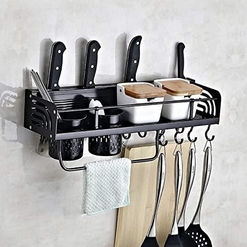 XGQ B Versión 50cm 2 Copas 10 Ganchos de Cocina multifunción de Pared Condimento del sostenedor del Estante de Almacenamiento (Negro) (Color : Black)