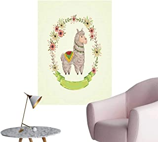 Llama Retro Poster Decorative Painting Colorful Watercolor Floral Wreath and South American Animal Illustration with Banner Living Room Wallpaper Multicolor W20 x H28
