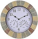 MLL Reloj de jardín al Aire Libre a Prueba de Agua, con Temperatura y humidificador Relojes de Exterior para el jardín Montado en la Pared Impermeable Resistente al Agua y al Polvo Reloj Exterior Res
