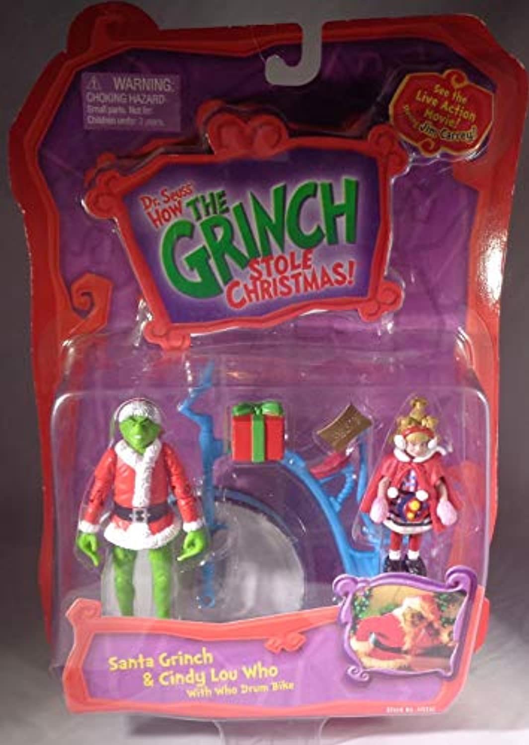 Dr. Seuss How the Grinch Stole Christmas Action Figure Set  Santa Grinch & Cindy Lou Who with Who Drum Bike