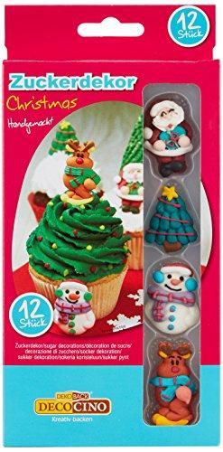 Decocino Zuckerdekor Weihnachten HOCHWERTIGE Zuckerdekore von DEKOBACK   zum Dekorieren von Weihnachtskuchen und Weihnachtsplätzchen   1er Pack (12 Stück, 31 g) 4 Motive Kuchendeko Weihnachten kaufen
