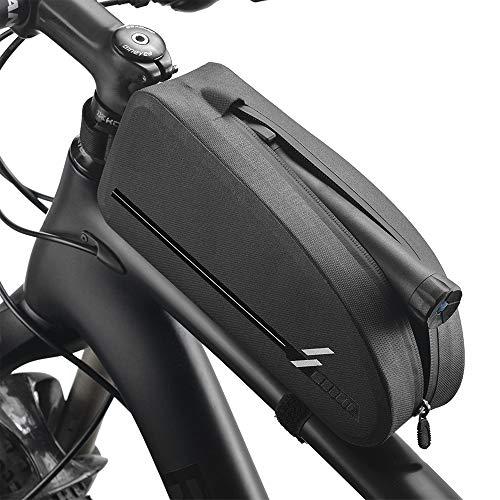 auvstar Bolsa Bicicleta Manillar, Impermeable Bolsa Bicicleta Tubo Frontal,Bolsa para Cuadro de Bicicleta,para Bicicletas MTB Bici de Carretera Bici Plegable Negro(2L)