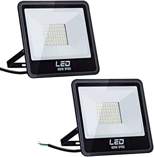 Amico 2 Pack 60W LED Flood Light Outdoor, 4800lm 6000K Daylight, Super Bright Security Lights, IP65 Waterproof Outdoor Landscape Floodlight for Courtyard, Garden, Playground, Party