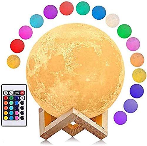 AGM Mondlampe, dimmbar, LED-Mondlicht, 3D-Druck, 16 Farben, Fernbedienung und Touch-Bedienung, 15 cm, Nacht-Stimmungslicht mit Holzhalterung, für Kinderzimmer, Schlafzimmer, Café, Bar, Esszimmer