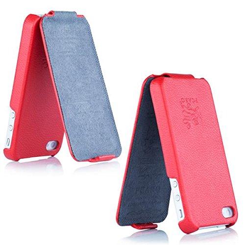 PCARO® Echtleder Tasche für iPhone SE / 5 / 5S Ledertasche Schutzhülle Tasche Hülle Cover Flip Case in Raues Rot