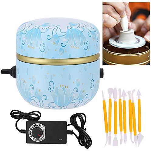 Kacsoo Mini Máquina de Rueda de Cerámica Mini Pottery Wheel Machine 1500RPM Turntable Electric Yema del dedo DIY Clay Tool con bandeja para adultos Niños Cerámica Art (azul claro)