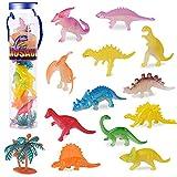 FORMIZON Mini Dinosaurio Juguete, 12Pcs Mini Figura de Dinosaurio, Educativo Realista Mini Dino Set, Plástico Luminoso Dinosaurio Modelo, Miniatura Dinosaurio para Niños Cumpleaños(Fluorescente)