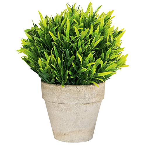 Small Artificial Plants in Pots for Home Decor Fake Faux Feaux Face Decorative Plant Decoration Arrangements Mini Artificial Potted Plants Greenery Decor Shelf Desk Office (Garden Leaf Grass, 1)
