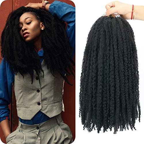 Marley Hair Marley Twist Hair Afro Kinky Twist Braiding Hair for Marley Faux Locs Braid Crochet Hair 4 Packs 18inch Synthetic Hair Extension (18Inch (4Packs), 1B)
