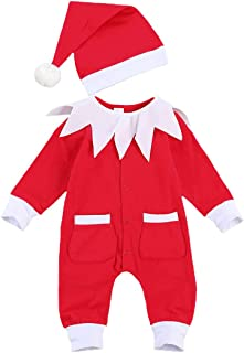 Newborn Baby Christmas Outfit Santa Claus Romper Red Long Sleeve Onesies Jumpsuit Hat One-Piece Bodysuit Xmas Costumes