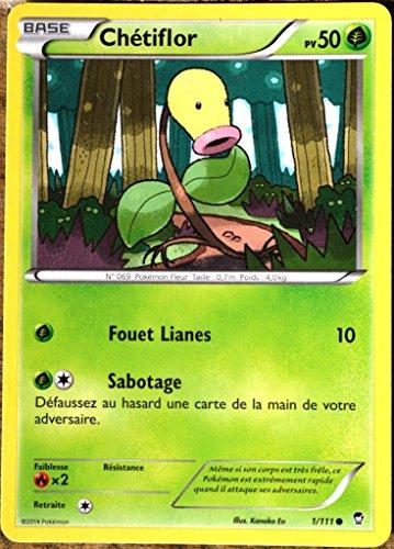 carte Pokémon 1/111 Chétiflor 50 PV XY03 XY Poings Furieux NEUF FR