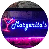 Margarita's Cocktails Bar Illuminated Dual Color LED看板 ネオンプレート サイン 標識 赤色 + 青色 400 x 300mm st6s43-i0521-rb