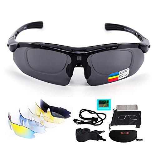 V VILISUN Fahrradbrille Sportbrille Sonnenbrille UV400 5 Wechselgläser inkl Schwarze polarisierte Linse für Outdooraktivitäten wie Radfahren Laufen Klettern Autofahren Angeln Golf Unisex