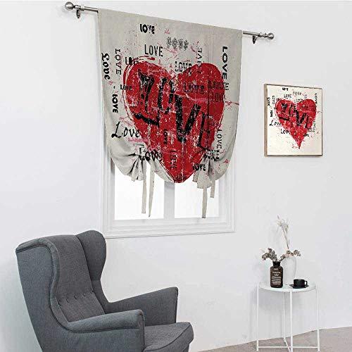 GugeABC Kärlek uteplats dörrgardiner, uttryck för kraftfulla känslor vintage inspirationer äktenskap förlovning romerska fönsterskuggor, beige vermilion svart, 122 cm x 163 cm