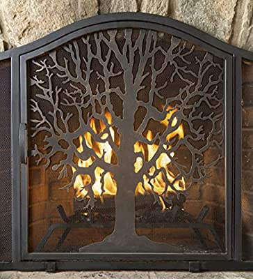 Plow & Hearth Tree of Life Metal Fireplace Screen with Single Hinged Door, Free Standing Spark Guard