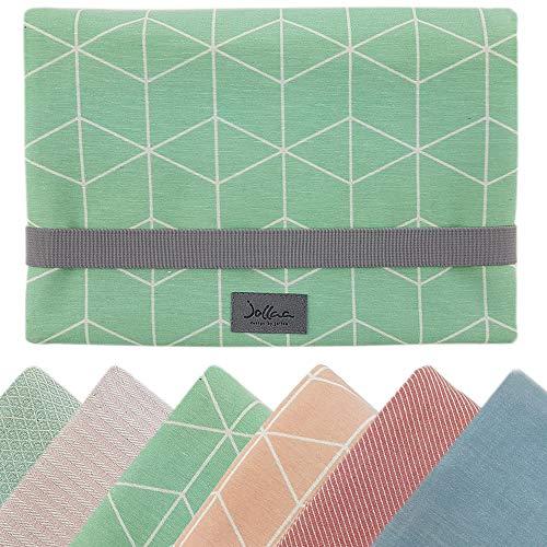 Windeltasche für unterwegs, kleine Wickeltasche für Windeln & Feuchttücher, Windeletui, Wickelmäppchen SmukkeDesign (Cubes Pastel Mint)