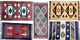 Handwerk Bazarr Combo: Kelim-Teppich Dhurrie, Set mit 5 indischen traditionellen Teppichen, 2 x 90 cm Wolle, Juteteppich, Akzentteppich, umweltfreundlich, erdige Heimdekoration