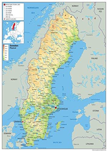 Schweden-Karte – Papier laminiert A0 Size 84.1 x 118.9 cm farblos