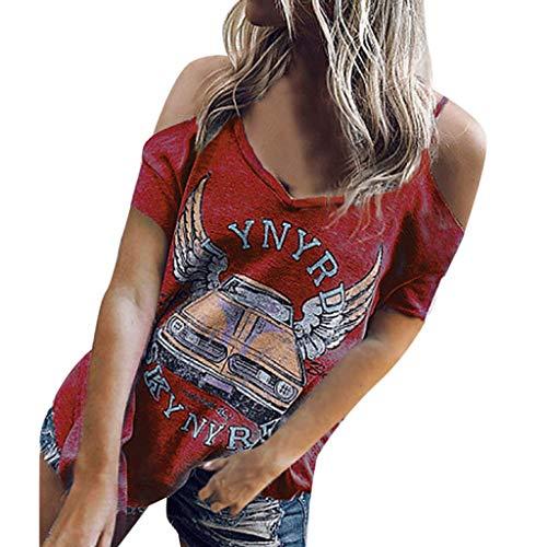 MOMOXI Tops para Mujer, Botón Suelto para Camisa de Manga Corta de algodón para Mujer Tops Casuales Blusa Blusa de Fiesta de Elegantes Camisa de Verano Corto Camiseta de Manga Corta con Estampado