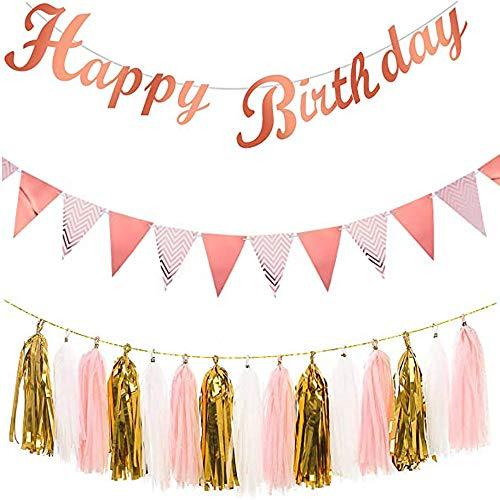 Estandarte de Feliz Cumpleaños de Oro Rosa, Con Estandarte de Banderín de Papel y Guirnalda de Borlas de Papel de Seda, para La Fiesta de Feliz Cumpleaños Bunting Banner Telón de Fondo Decoración