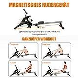 Crafteam Rudergerät, Klappbar Magnetbremssystem Mit 8-stufigem Widerstandsanpassungs-Fitnessgerät, Nutzergewicht Bis 130 Kg - 3