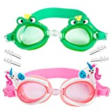 WolinTek Gafas de Natación Infantil, 2pcs Antiniebla Gafas para Nadar Antigoteo Protección UV sin Fugas incluir Enchufe de oído y Clip de Nariz Ajustable para Niñas, Niños (B)
