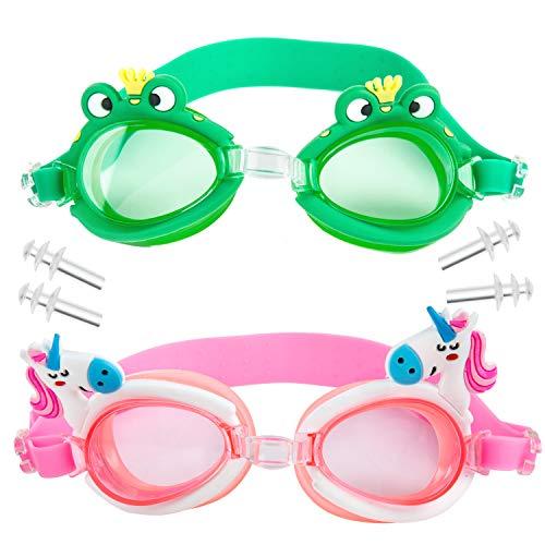 WolinTek Occhialini da Nuoto per Bambini, 2 Pezzi Anti-Appannamento Occhiali da Piscina Agonistico con Protezione UV e Tappi per Orecchie, Confortevole Regolare per Bambini, Adolescenti (B)