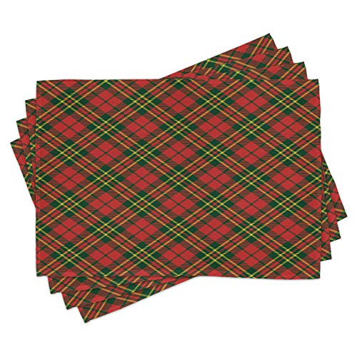 Checkered Place Mats Set of 4 by Ambesonne, Irish Tartan Plaid Motifs in Christmas Colors Geometrical Crossed Stripes, Washable Placemats for Dining Room Kitchen Table Decoration, Red Emerald Yellow
