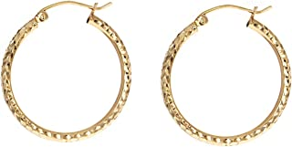 COODI Jewelry 14K Solid Gold 25mm 45mm 65mm Diamond Cut Huggie Hoops