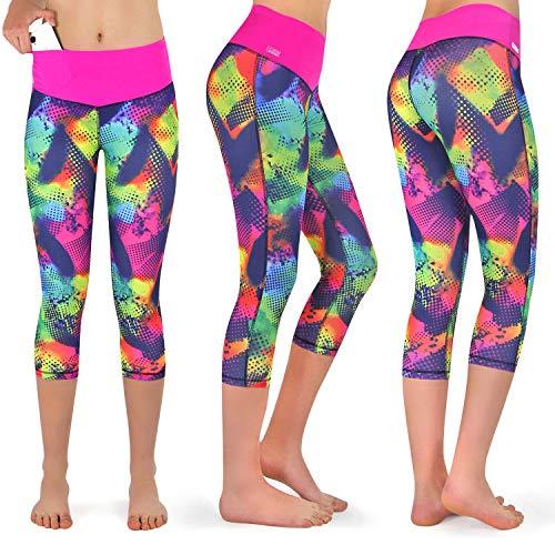 Formbelt Fitness Leggings Damen 3-4 Capri Sportleggings schwarz meliert Muster (Brazil, M)