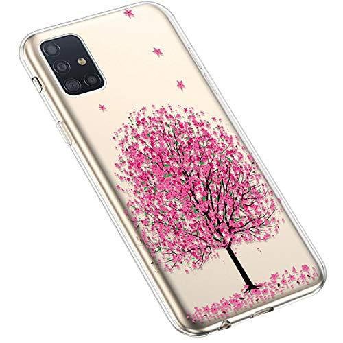 Uposao Kompatibel mit Samsung Galaxy A71 Hülle Silikon Schutzhülle Bunt Retro Muster Durchsichtig Case Klar Transparent TPU Tasche Handyhülle Anti-Kratzer Stoßfest,Kirschblüte Baum