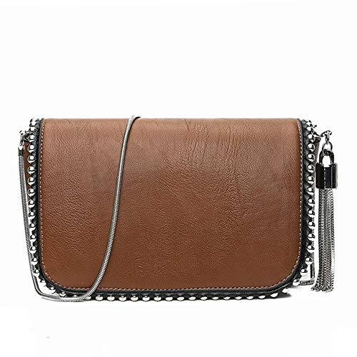 QWH, Bolso Cuadrado pequeño y Sencillo a la Moda, Bolsos de Hombro con Cadena de Borla y Remaches de Cuero PU de diseñador para Mujer