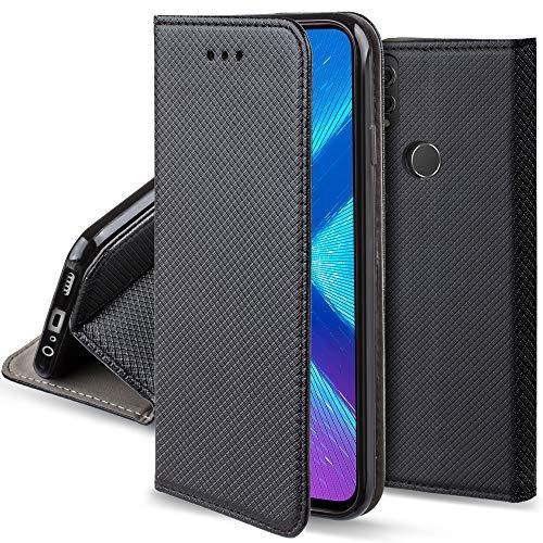 Moozy Funda para Huawei Honor 8X, Negra - Flip Cover Smart Magnética con Soporte y Cartera para Tarjetas