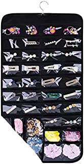 SPIKG Hanging Jewelry Organizer Holder, Storage Bag for Earrings Necklace Bracelet Ring Accessory Display Holder Box (Black -80 Pockets)