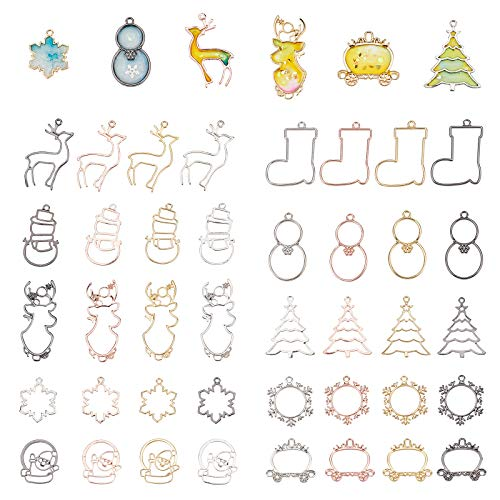 OLYCRAFT 40pcs Christmas Theme Open Bezel Pendants 10 Styles Resin Open Bezel Charms 4 Colors Alloy Frame Pendants Hollow Resin Frames with Loop for Resin Jewelry Making