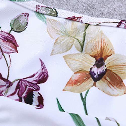 Dicomi Women Fashion Swimsuits Floral Print Bikini Set Swimming Two Piece Swimwear Beach Suit White