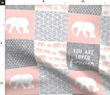Spoonflower Fabric - Elephant Wholecloth Cheater Quilt Top Loved Pink Elephants Patchwork Printed on Petal Signature Cotton Fabric by The Yard - Sewing Quilting Apparel Crafts Decor