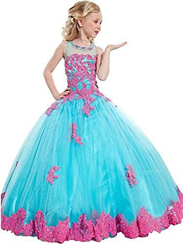 MemoryTU Flower Girls' Birthday Party Prom Ball Gown Floor Length Wedding Pageant Dresses 6 US Blue
