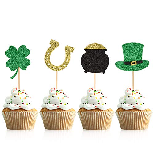Donoter 36 Pieces Glitter Shamrock Cupcake Toppers Four Leaf Clover Cake Picks for St Patrick's Day Party Decorations